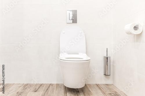 Toilet bowl in modern white style bathroom Wallpaper Mural