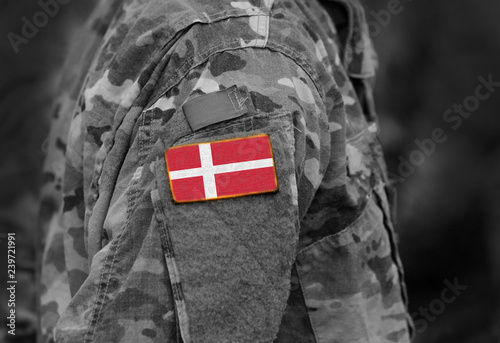 Flag of Denmark on soldiers arm Canvas Print