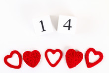 Red Homemade Diy Heart Made Cardboard, Yarn, Wooden Perpetual Calendar On White Background. Idea St. Valentines Day, Day Love, February 14 Concept. Copy Space, Top View, Flat Lay Composition.