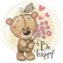 Cute Cartoon Teddy Bear With Flowers