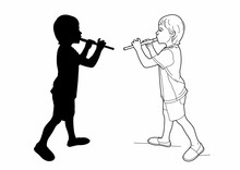 Drawing And Shadow Of A Flautist