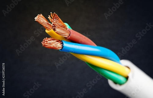 Electric screened cable with many wires isolated on grey Tableau sur Toile