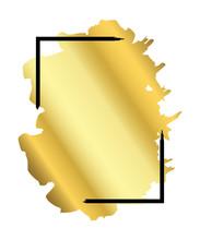 Gold Brush In Black Rectangle Frame Isolated White Background. Border Golden Grunge Ink. Luxury Smooth Design Banner, Happy New Year Card, Christmas Template. Splash Stroke Stain. Vector Illustration