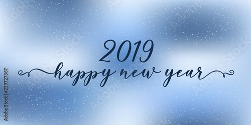 In de dag Retro sign .2019 Happy New Year lettering and card.