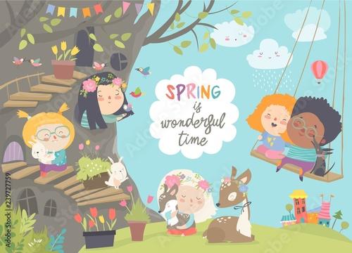 Cute cartoon children with animals in spring forest