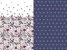 Set Of Two Horizontal Seamless Floral Pattern With Paisley And Fantasy Flowers Border. Hand Drawn Texture For Clothes, Bedclothes, Fabric Of The Dress Etc. Violet