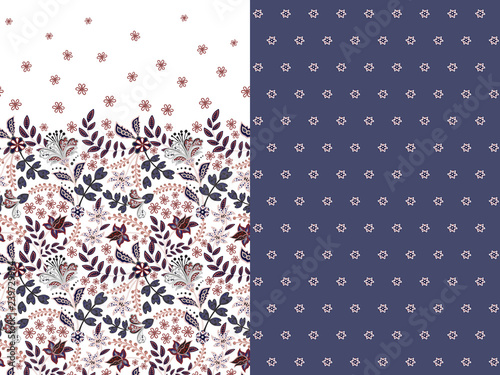 Fotografie, Obraz Set of two horizontal seamless floral pattern with paisley and fantasy flowers border