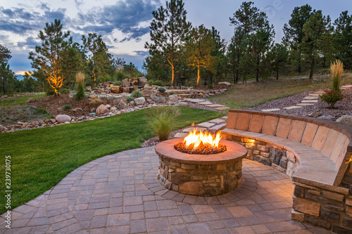 Foto op Canvas Zalm Amazing Backyard Fire Pit