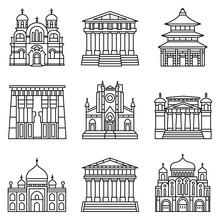 Temple Icon Set. Outline Set O...