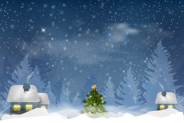 Winter blue sky with falling snow, snowflakes with a winter landscape with moon