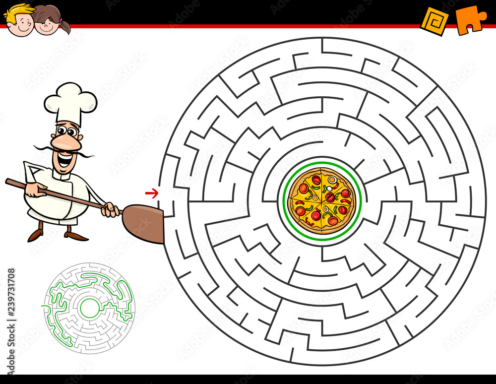 Fototapeta cartoon maze game with chef and pizza