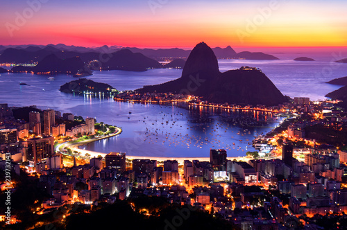 Photo  Rio de Janeiro just before Sunrise, City Lights, and Sugarloaf Mountain
