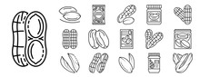 Peanut Icon Set. Outline Set O...