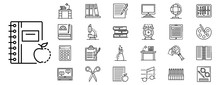 Homework Icon Set. Outline Set Of Homework Vector Icons For Web Design Isolated On White Background