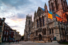 York Minster Cathedral At Suns...