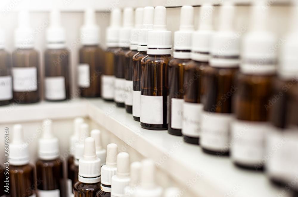 Fototapety, obrazy: Perfumery Lab fragrance bubbles with aroma oils