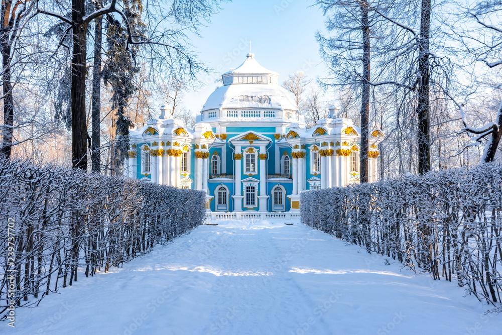 Fototapety, obrazy: Hermitage pavilion in Catherine park in winter, Tsarskoe Selo (Pushkin), St. Petersburg, Russia