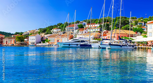 Picturesque marina of Paxos island. Ionian islands of Greece