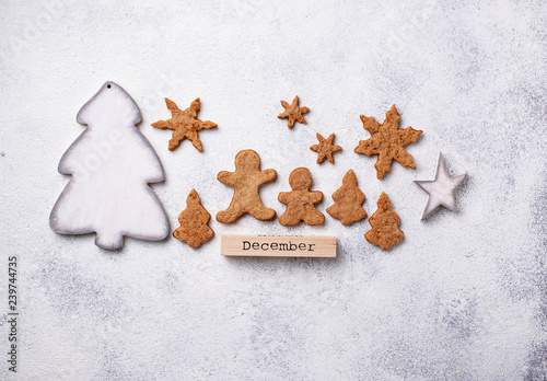 Garden Poster Cookies Winter Christmas composition with gingerbread cookies