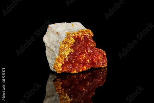 Macro Mineral Stone Orpiment on Black Background Canvas Print