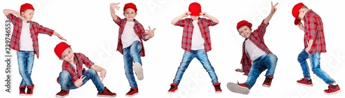 The boy in the style of Hip-Hop . Children's fashion.Cap and jacket.