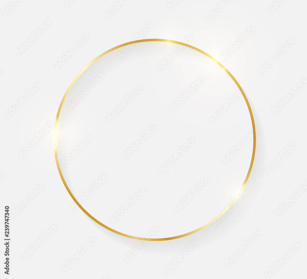 Fototapety, obrazy: Gold shiny glowing vintage frame with shadows isolated on white background. Golden luxury realistic border. Wedding, mothers or Valentines day concept. Xmas and New Year abstract. Vector illustration