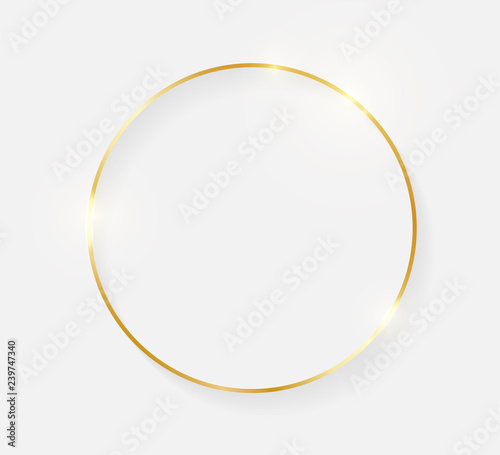 Gold shiny glowing vintage frame with shadows isolated on white background. Golden luxury realistic border. Wedding, mothers or Valentines day concept. Xmas and New Year abstract. Vector illustration Fototapete