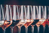 Wine glasses in a row. Buffet table celebration of wine tasting. Nightlife, celebration and entertainment concept