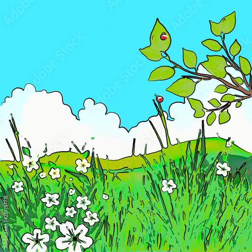 Papiers peints Turquoise Esquisse d'un paysage champêtre