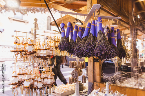 Photo Stands South America Country Kiosk with aroma products and lavandula made in Hungary in the beautiful Christmas Market at St. Stephen's Square in front of the St. Stephen's Basilica in Budapest