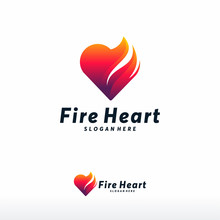 Fire Heart Logo Designs Concep...
