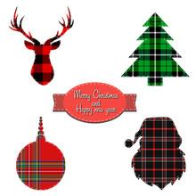 Christmas Set On Tartan Background