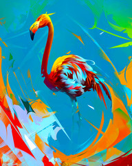 Panel Szklany Współczesny painted bright flamingo bird on abstract background