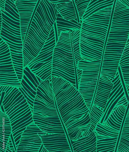 Türaufkleber Künstlich Tropical leaves. Seamless texture with banana leaf. Hand drawn tropic foliage. Exotic green background.