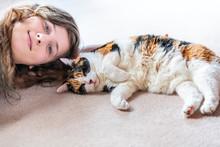 Closeup Of Calico Cat Side, Pa...