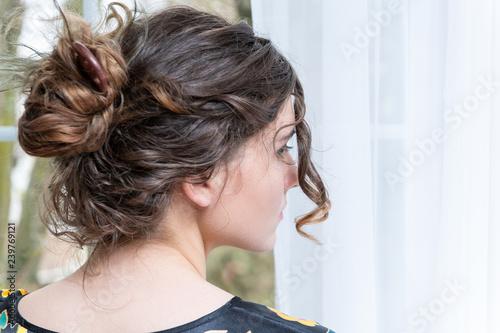 Closeup Portrait Of Female Caucasian Person Back Young