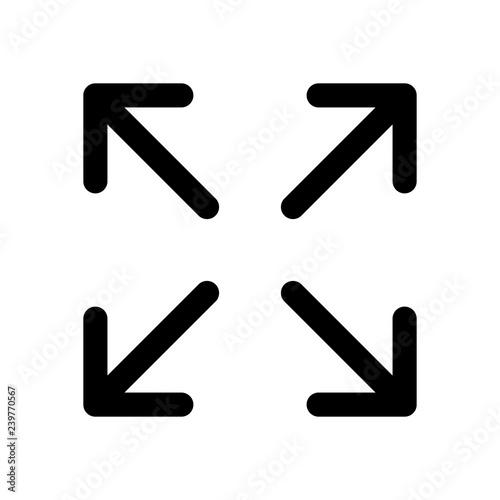 Fotografie, Tablou  Arrows of four directions, linear icon. Black icon on white back