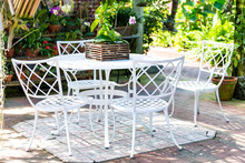 White Cast Iron Chairs, Table ...