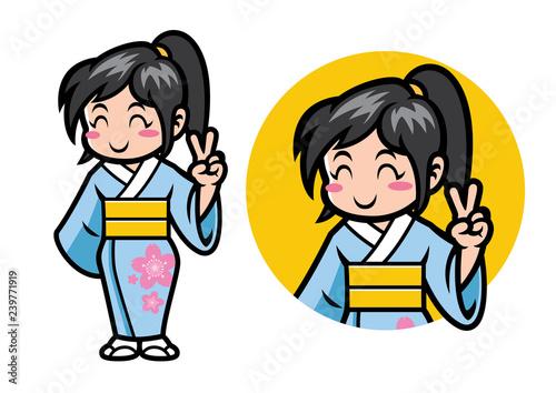 Photo japan girl chibi mascot
