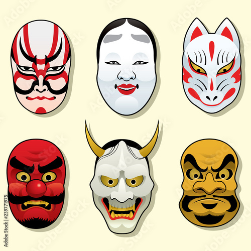 japan traditional mask set Wallpaper Mural