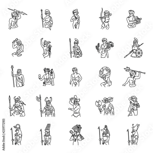 Fotografie, Obraz  Ancient Gods outlines vector icons