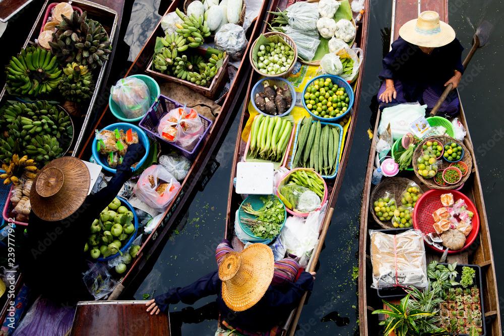 Fototapeta Floating Market Thailand Lifestyle