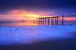 Seascape of Jetty wooden in Pilai beach, Phang-Nga, Thailand. Beautiful of seascape at sunset in sea southern of Thailand,
