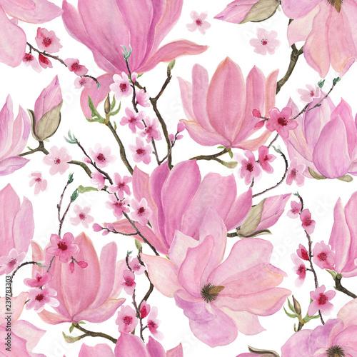 Obrazy Magnolie  akwarela-malarstwo-wzor-z-kwiatow-magnolii-i-wisni-na-bialym-tle