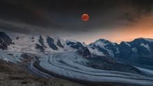 Panoramic View Of The Bernina Group With Blood Moon, Piz Palu, Bellavista, Crast Aguzza, Piz Bernina, Piz Morteratsch, Pers Glacier, Morteratsch Glacier, Diavolezza, Eastern Alps, Engadin, Switzerland, Europe