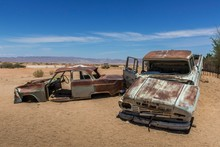 Wrecks Of Oldtimers In The Desert, Solitaire, Khomas Region, Namibia, Africa