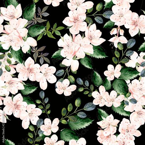 akwarela-wzor-z-wiosennych-kwiatow-i-zielonych-lisci