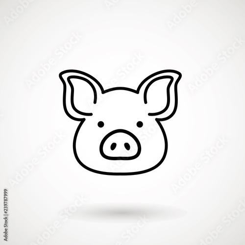 Fotografia, Obraz Pig line icon
