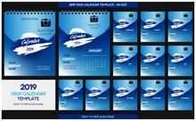 Set Desk Calendar 2019 Template Design Vector, Cover Design, Set Of 12 Months, Week Starts Monday, Stationery Design