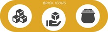 Vector Icons Pack Of 3 Filled Brick Icons